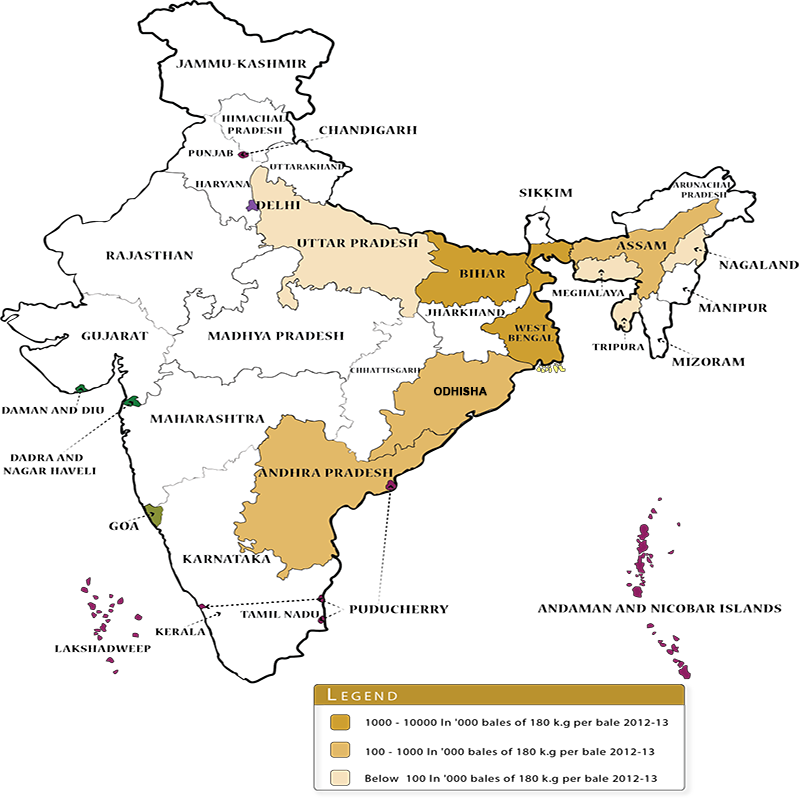 Jute cultivation in India map