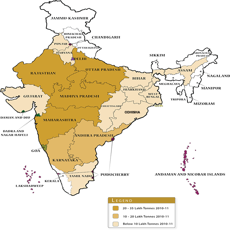 Pulses cultivation in India map