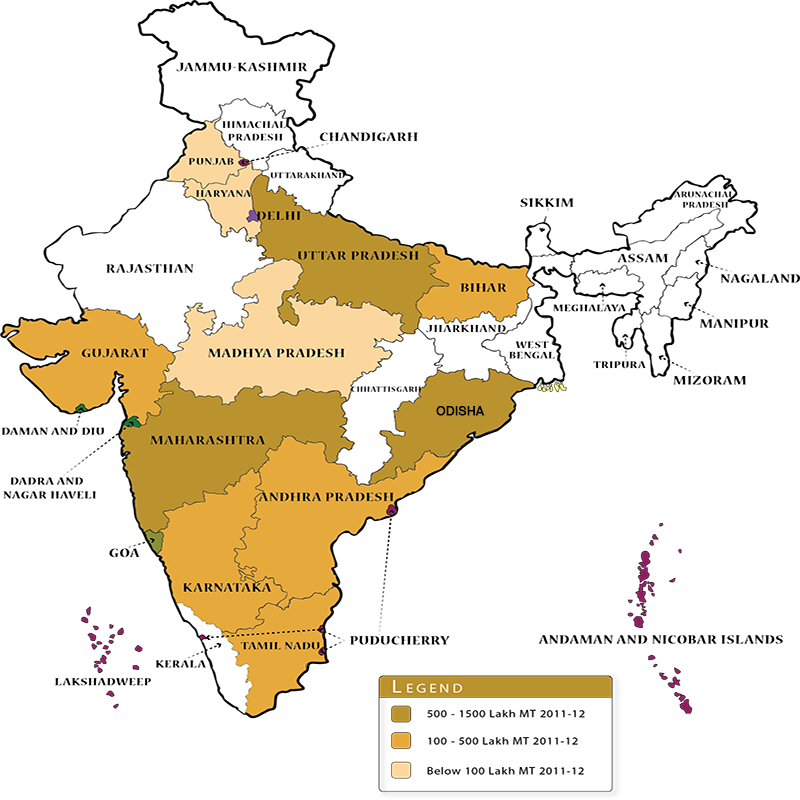 Sugarcane cultivation in India map