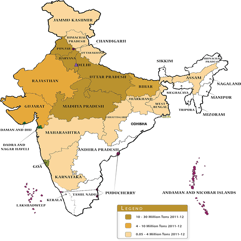 Wheat cultivation in India map